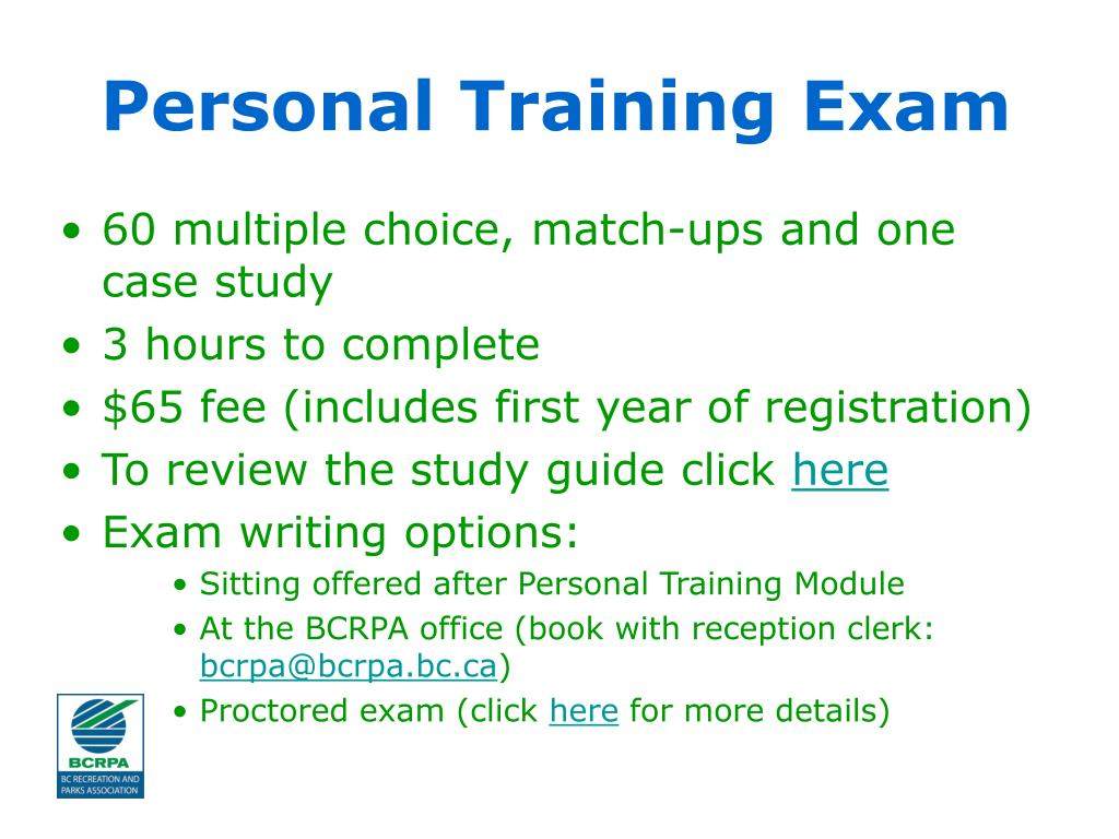Personal Training Exam