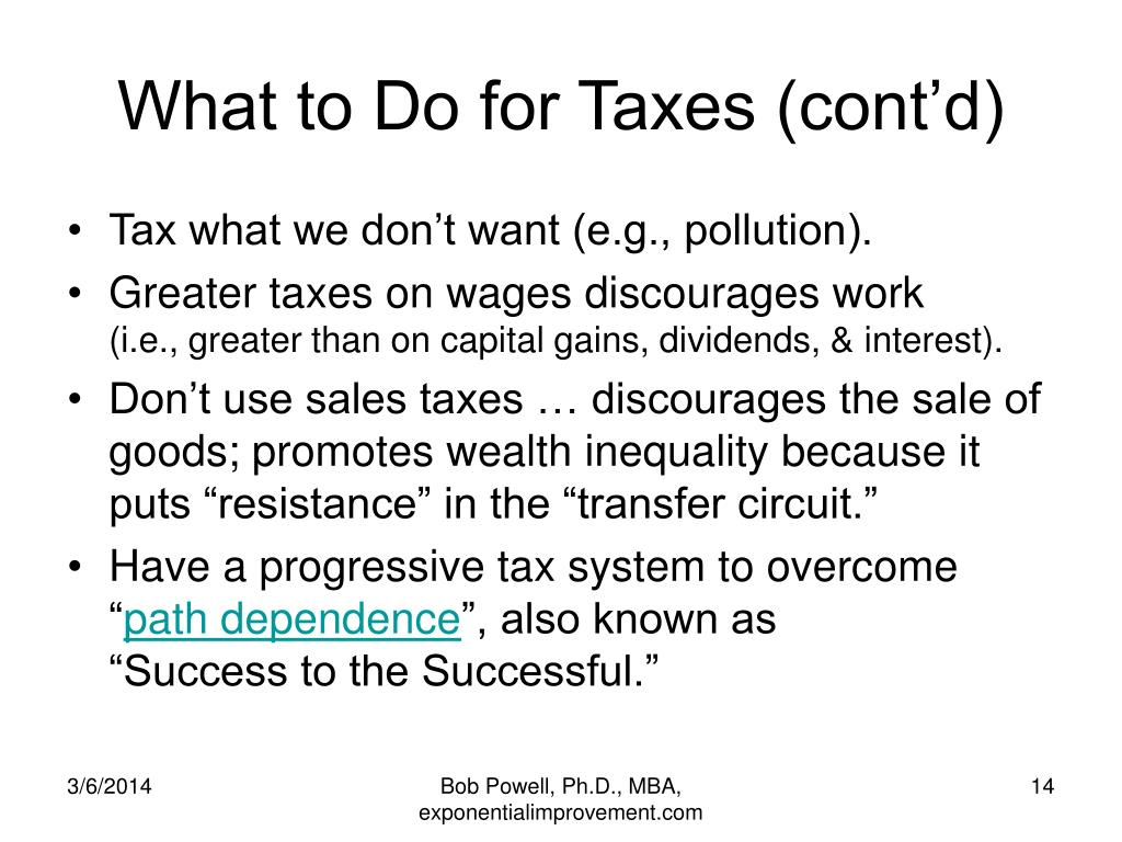 What to Do for Taxes (cont'd)
