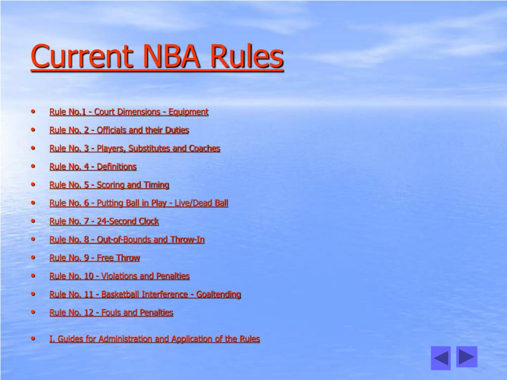Current NBA Rules