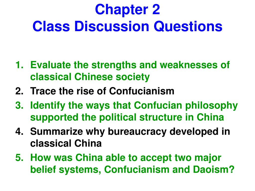 discussion question chapter 2 Chapter 2 inside the mindsets benjamin barber, an eminent sociologists, doesn' t divide the people in the world into the successes and failures he divides.