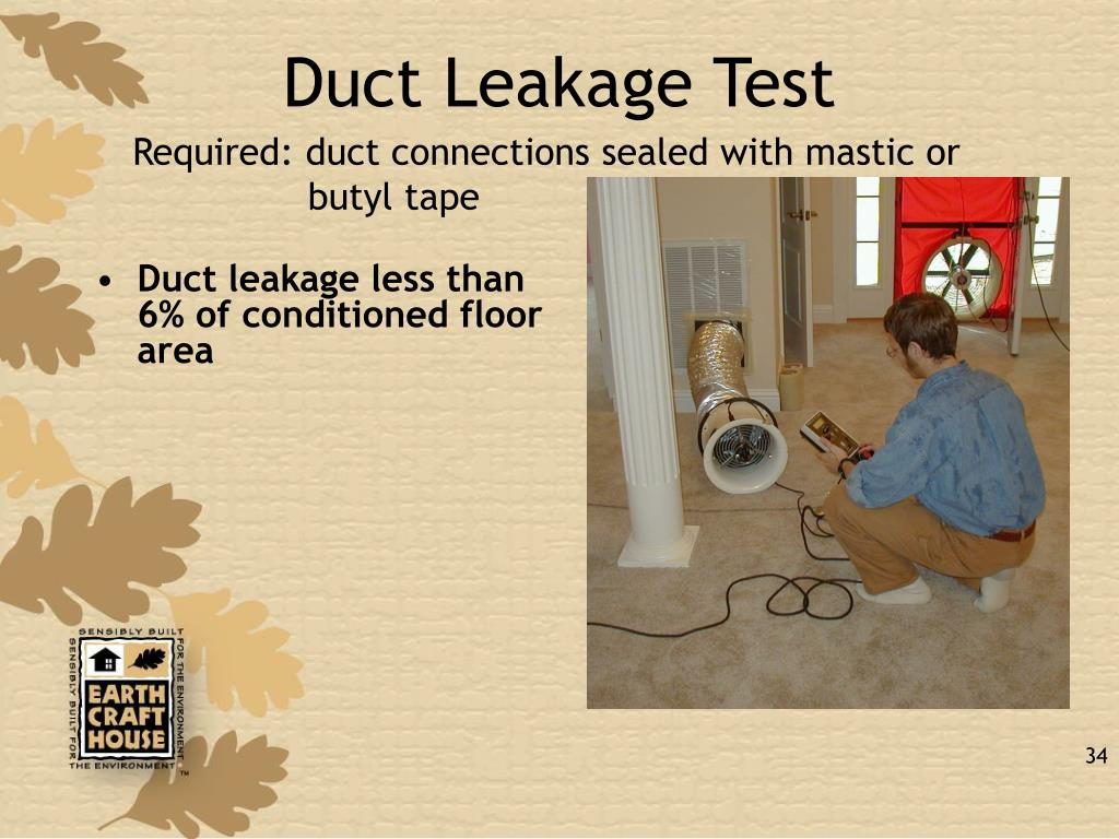 Duct leakage less than 6% of conditioned floor area