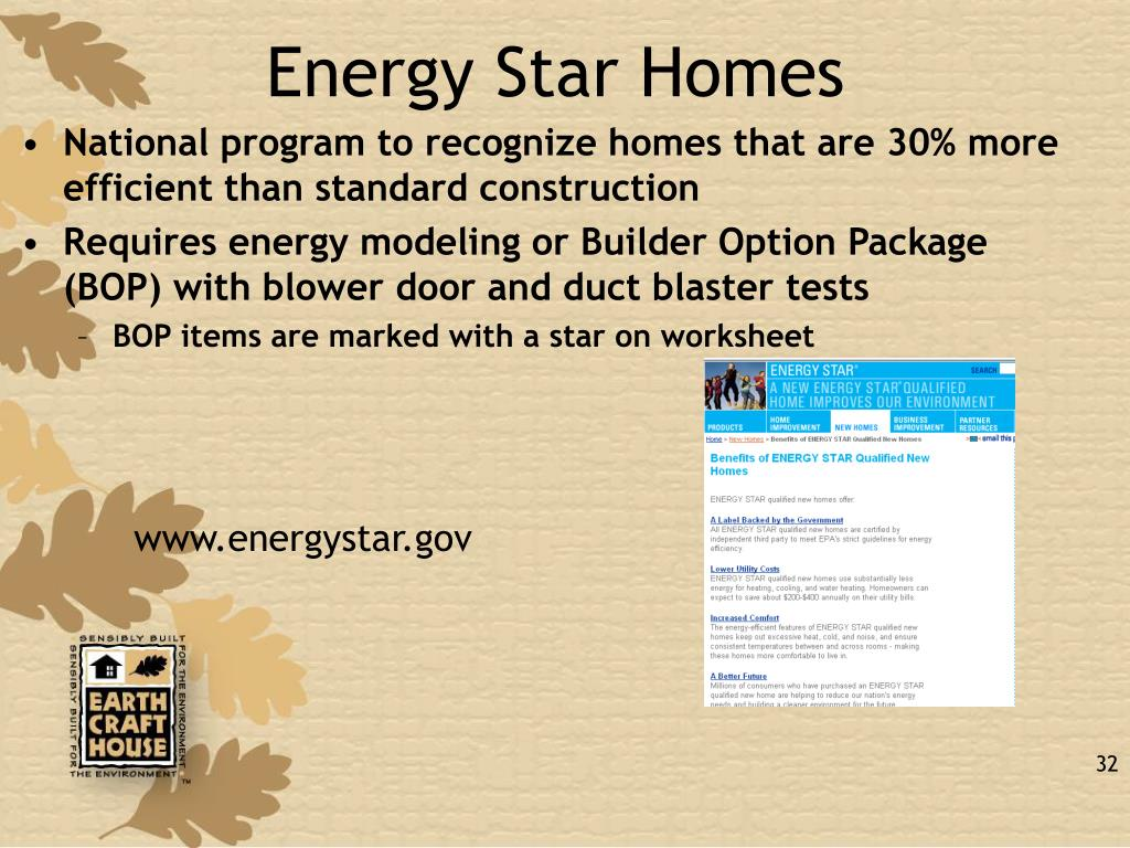 National program to recognize homes that are 30% more efficient than standard construction