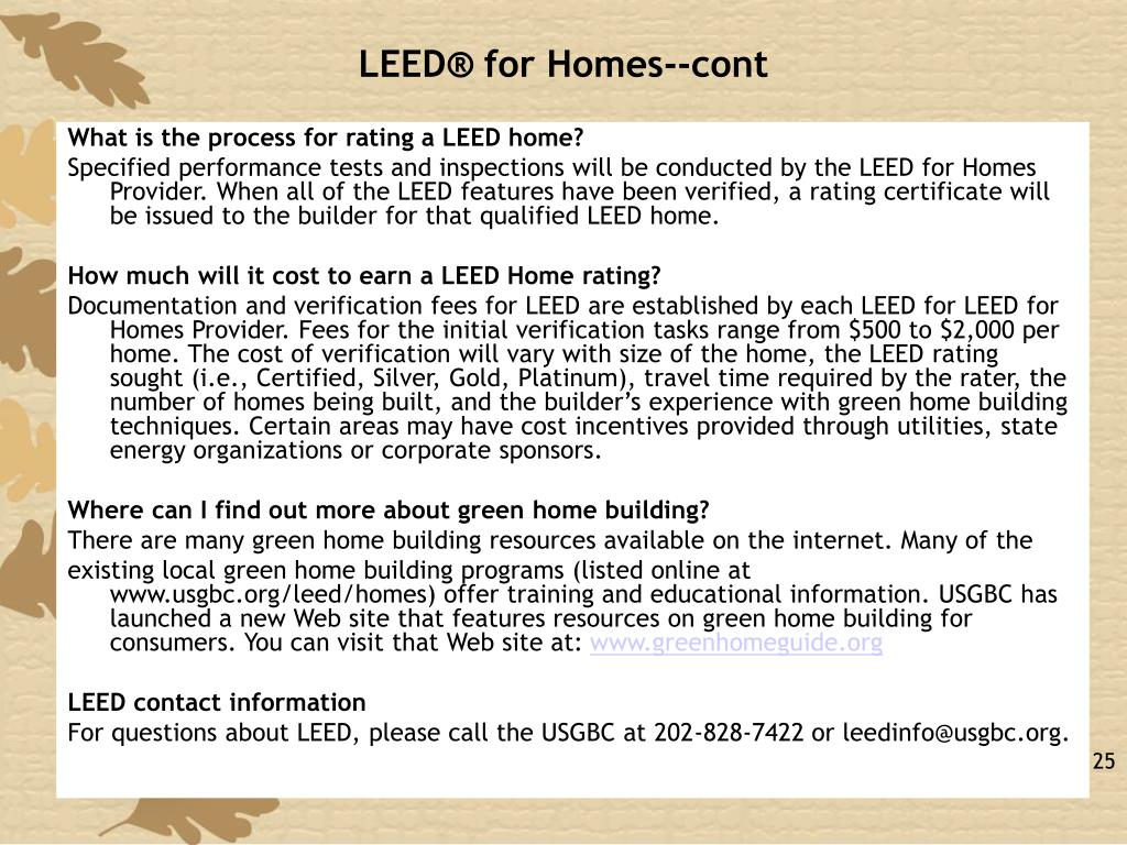 LEED® for Homes--cont