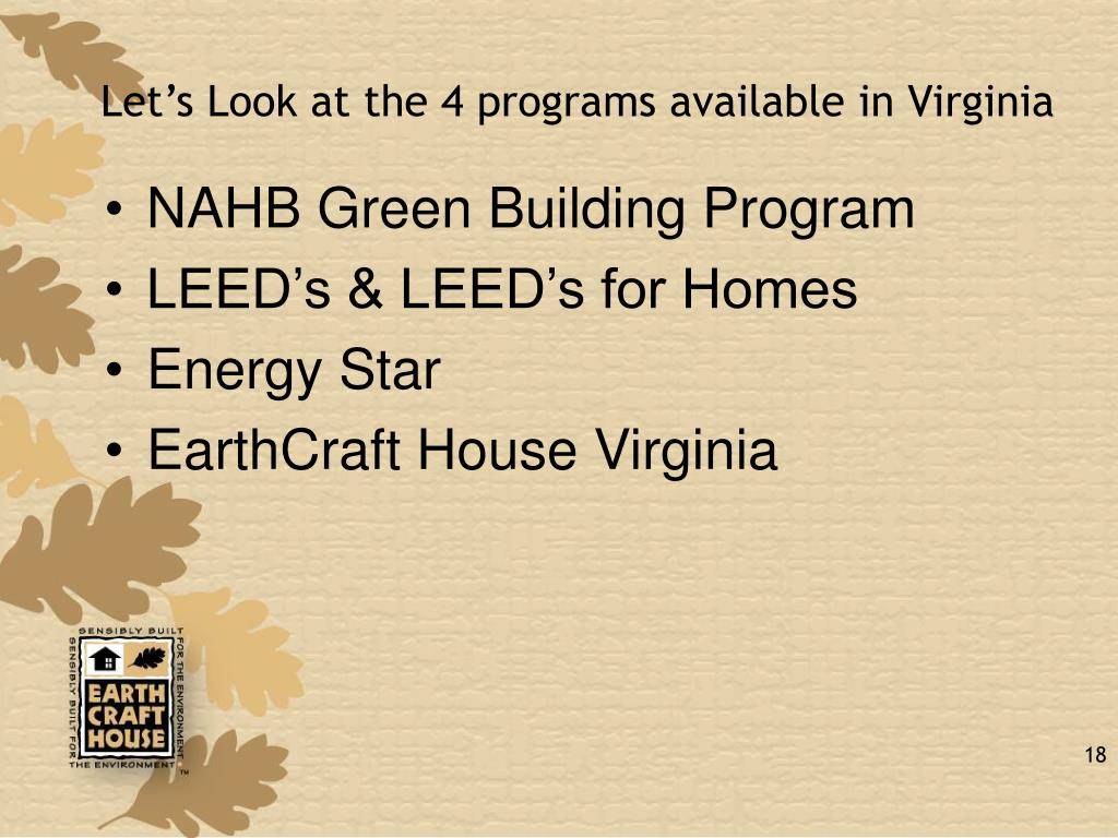 Let's Look at the 4 programs available in Virginia