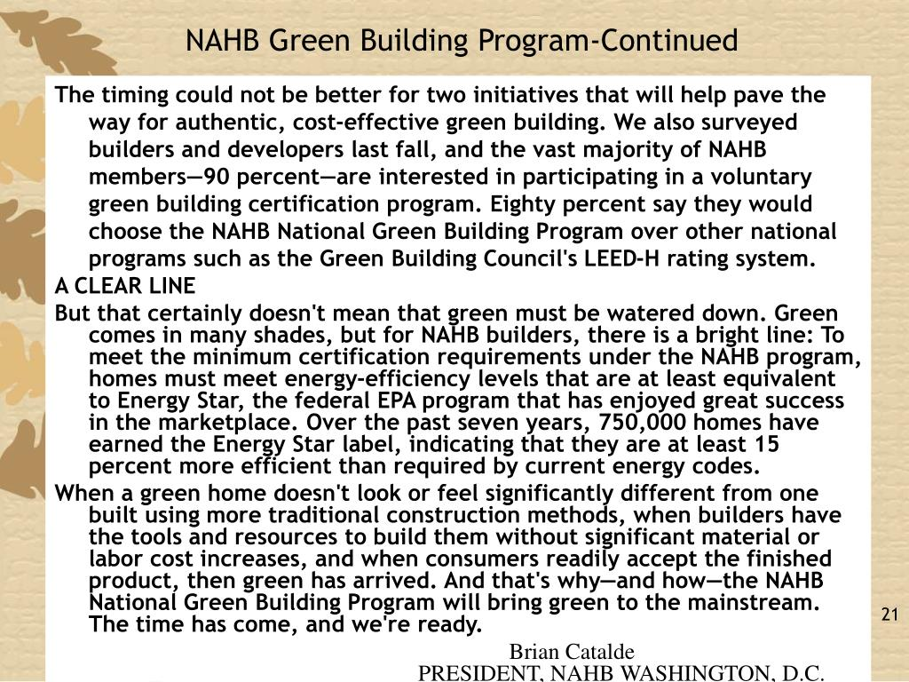 NAHB Green Building Program-Continued