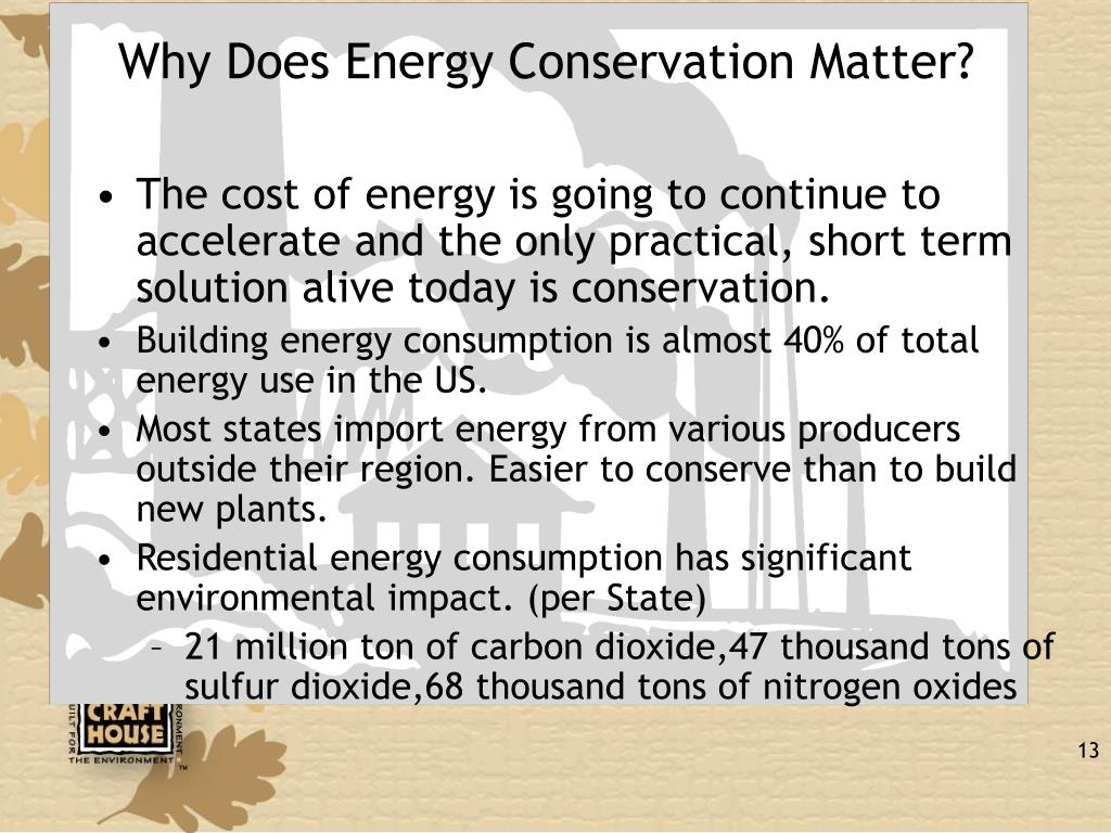 Why Does Energy Conservation Matter?