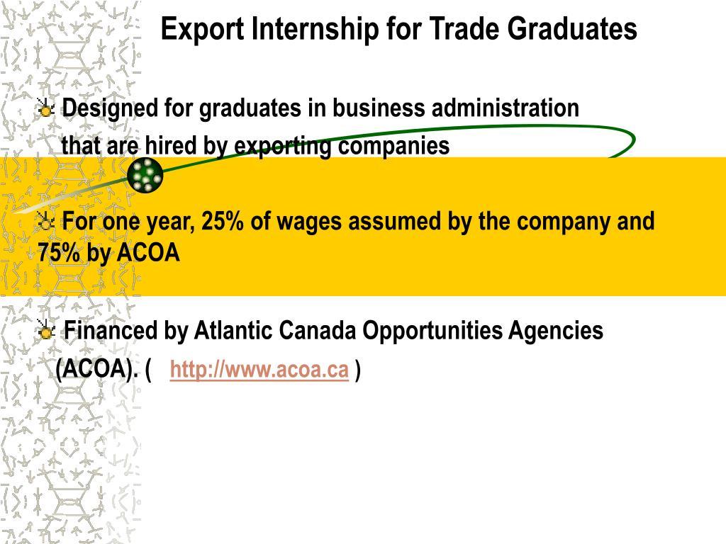 Export Internship for Trade Graduates