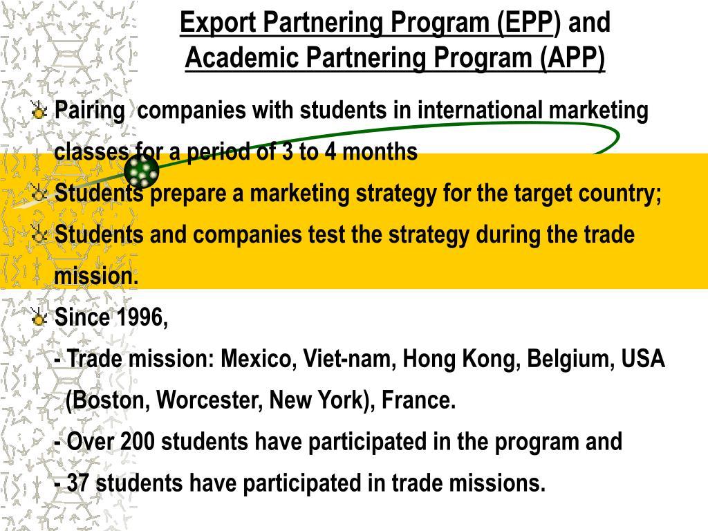Export Partnering Program (EPP