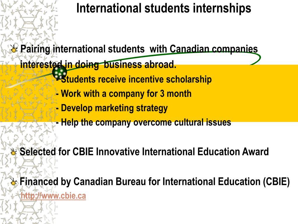 International students internships