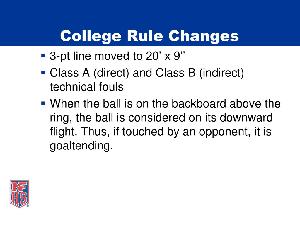 College Rule Changes