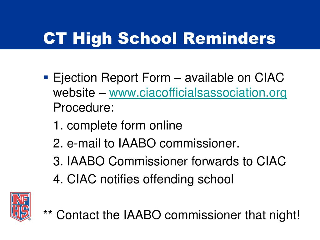 CT High School Reminders