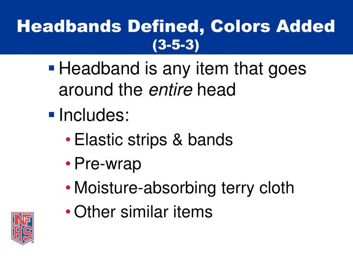 Headbands defined colors added 3 5 3