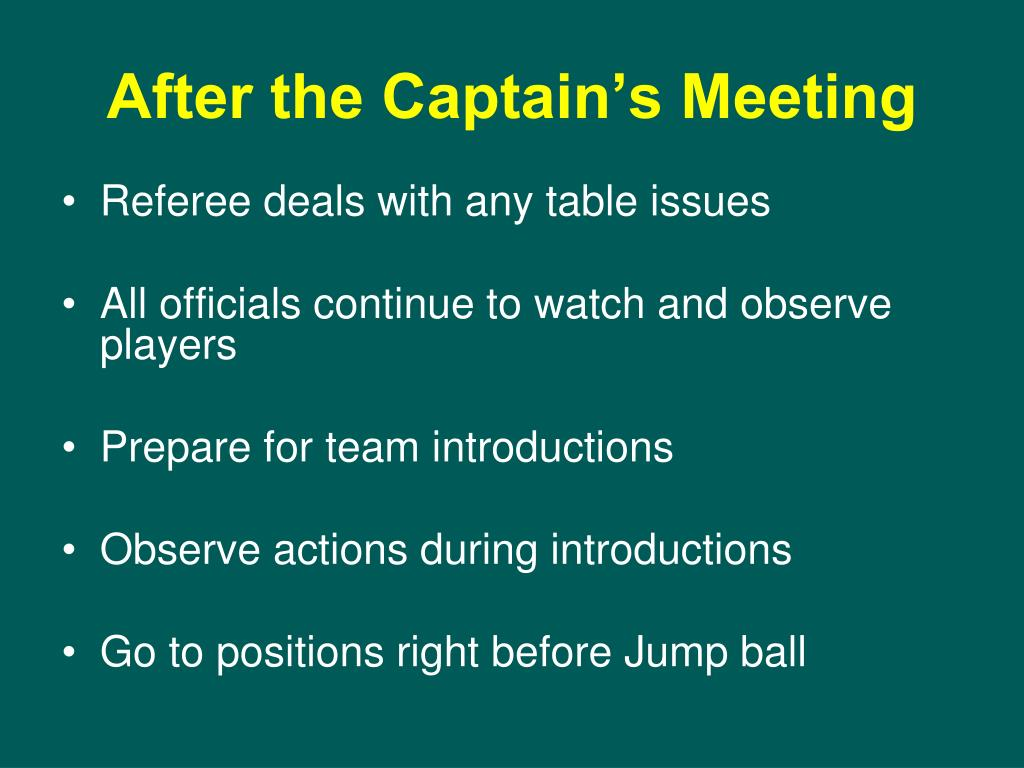 After the Captain's Meeting