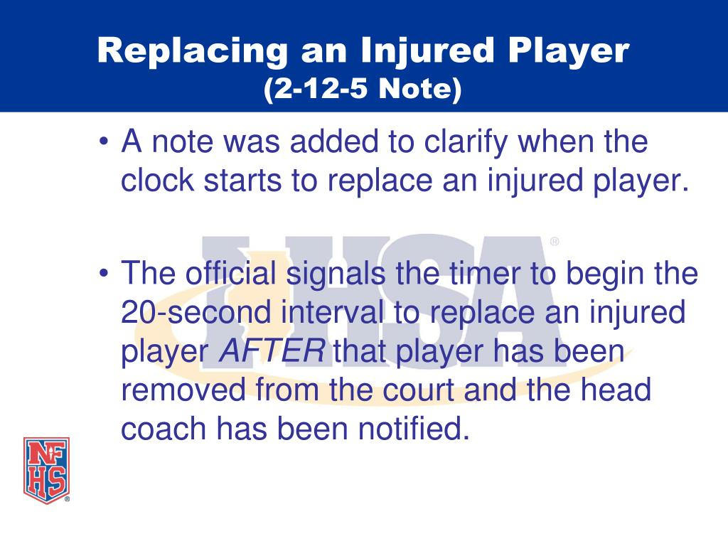 Replacing an Injured Player