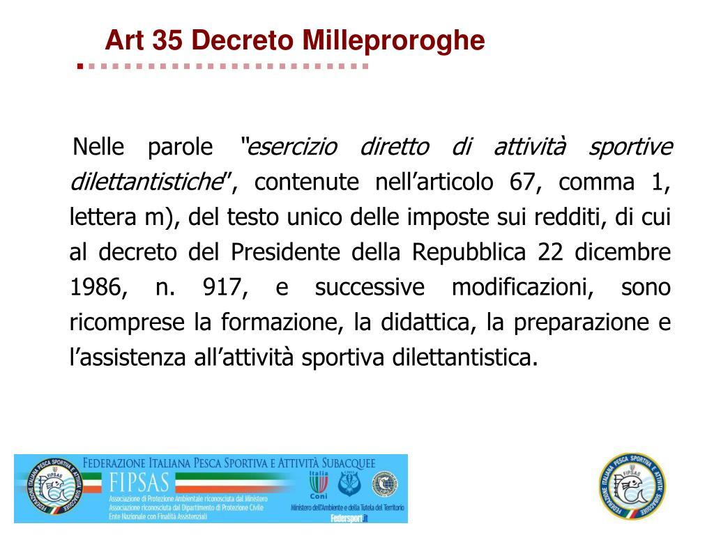 Art 35 Decreto Milleproroghe
