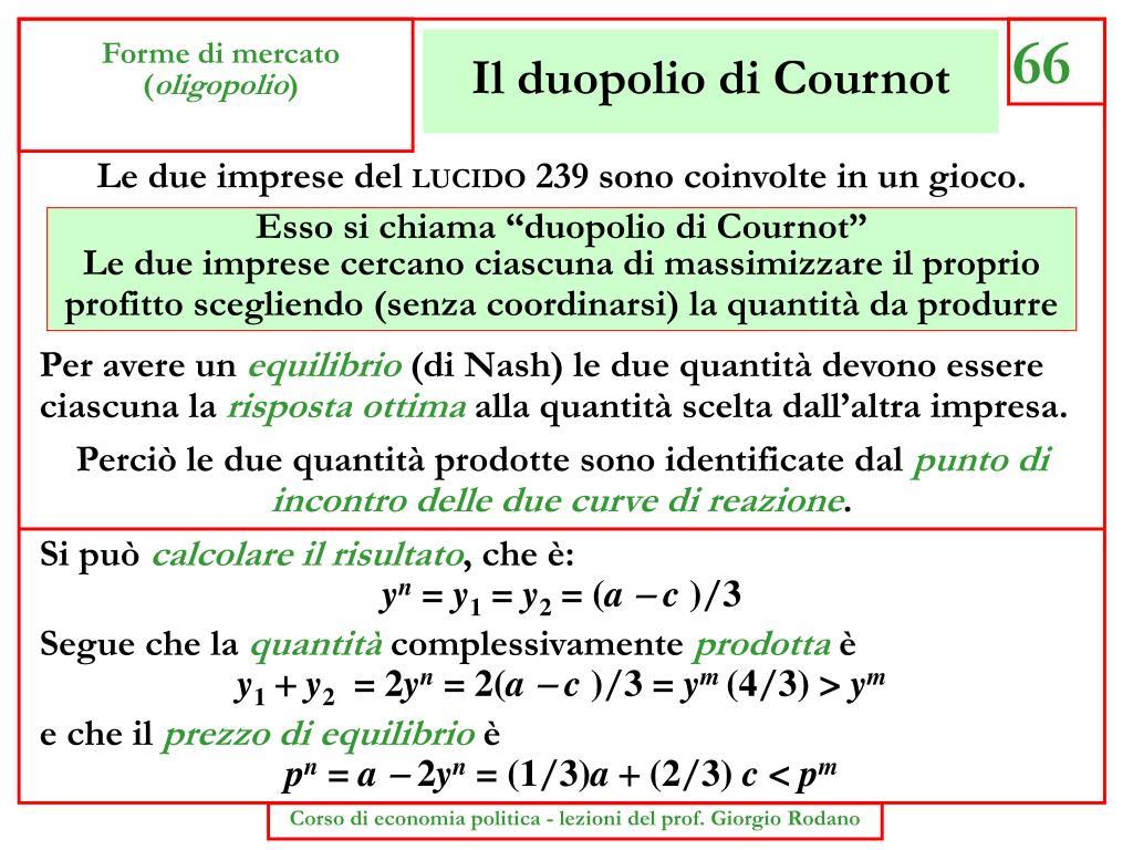 Il duopolio di Cournot