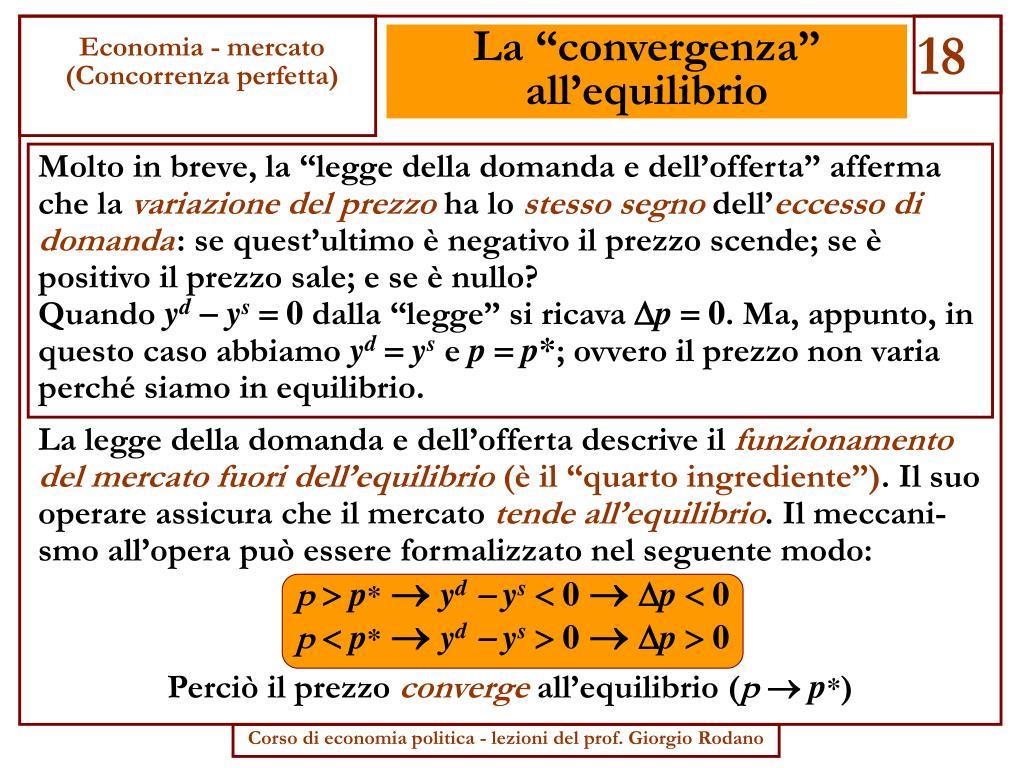 """La """"convergenza"""" all'equilibrio"""