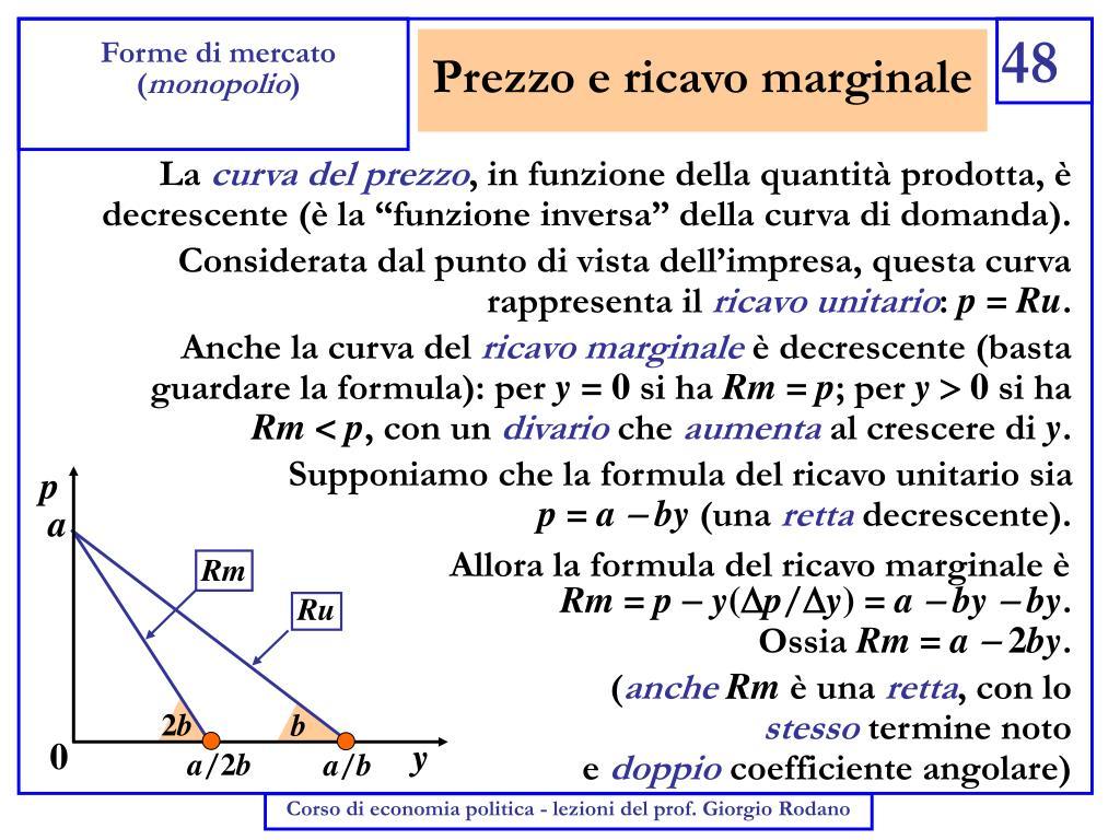 Prezzo e ricavo marginale