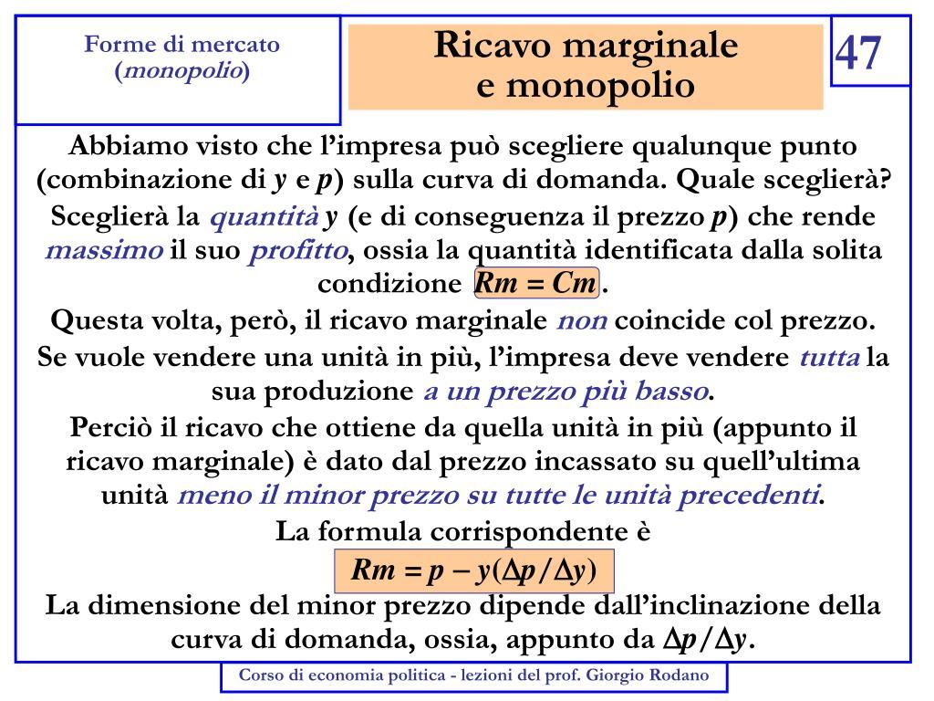 Ricavo marginale