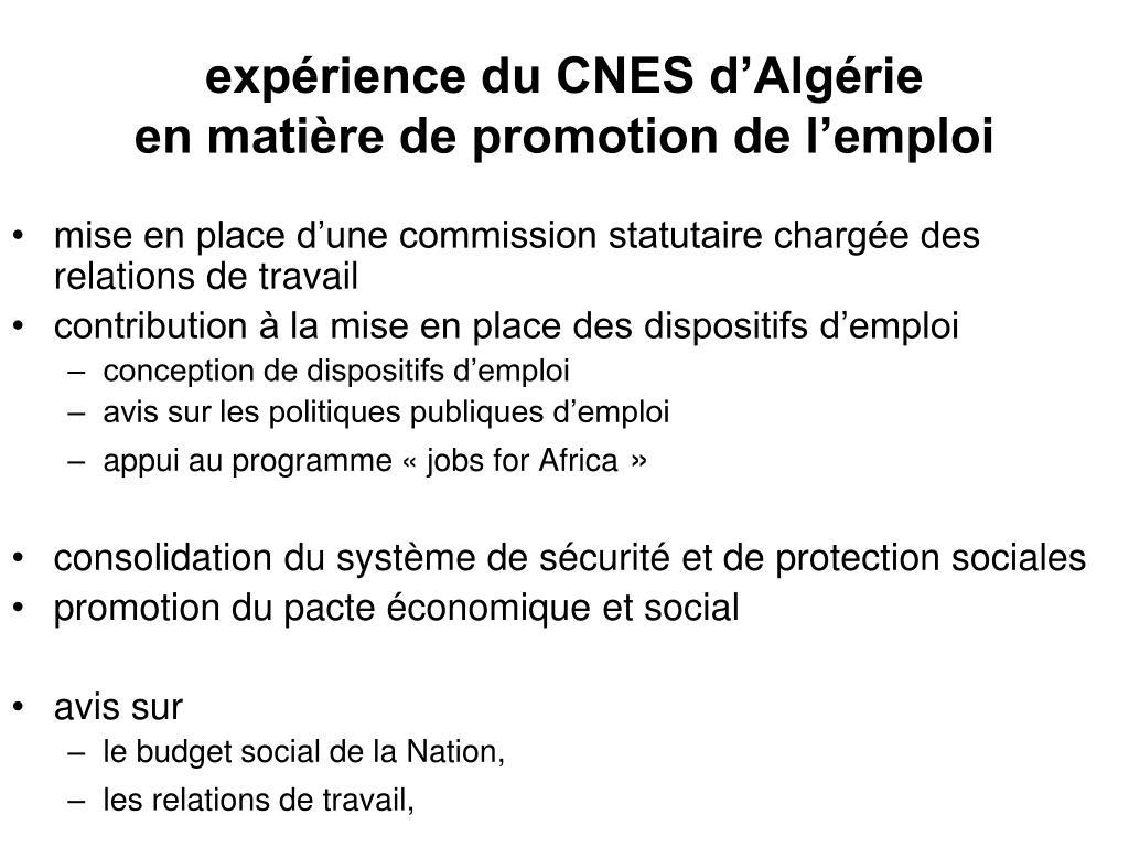 expérience du CNES d'Algérie
