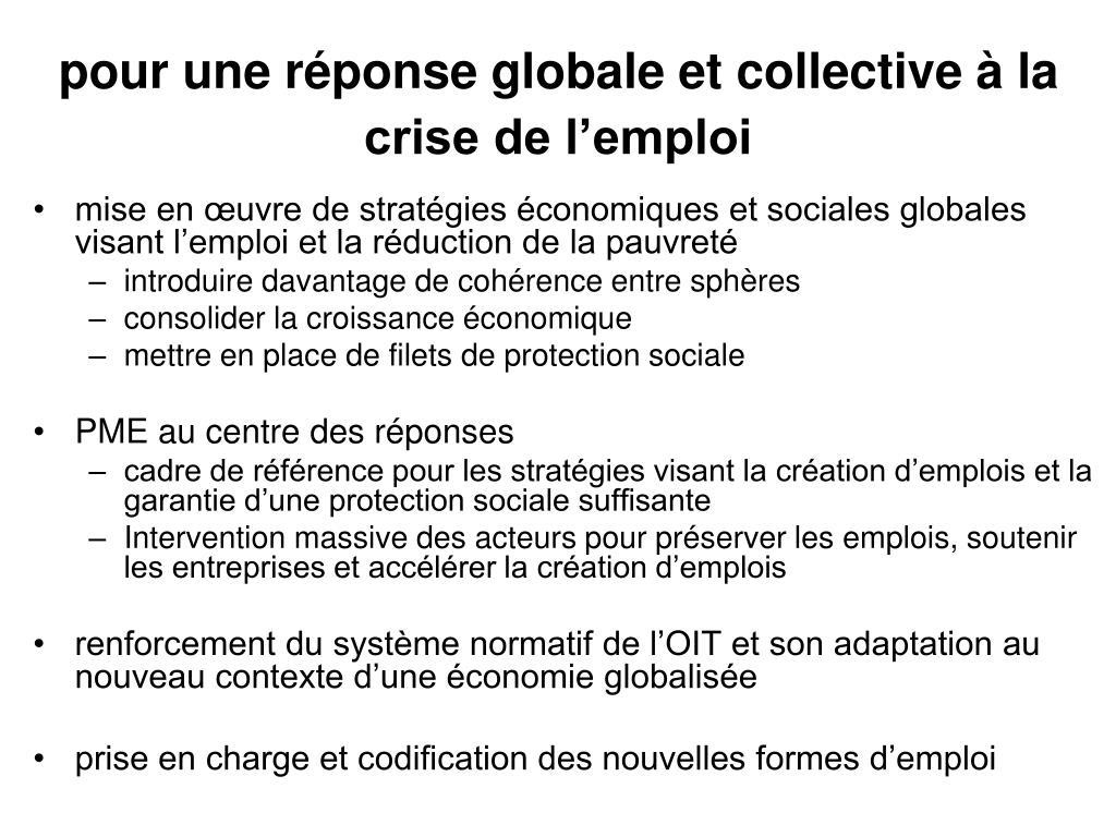 pour une réponse globale et collective à la crise de l'emploi