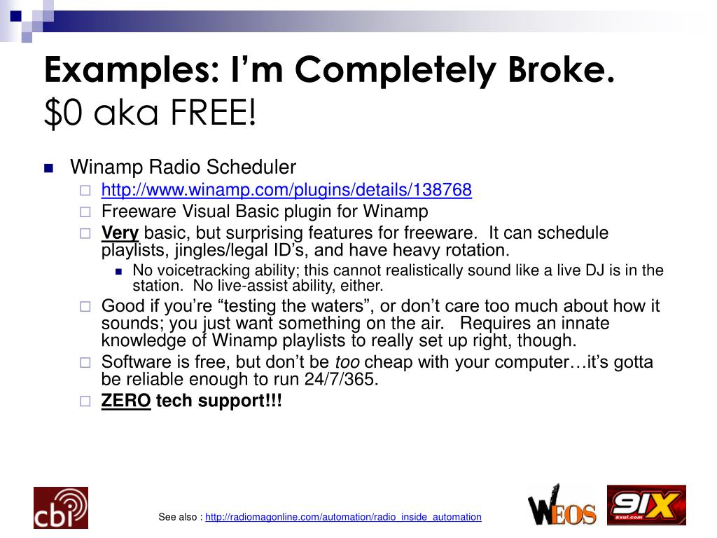 Examples: I'm Completely Broke.