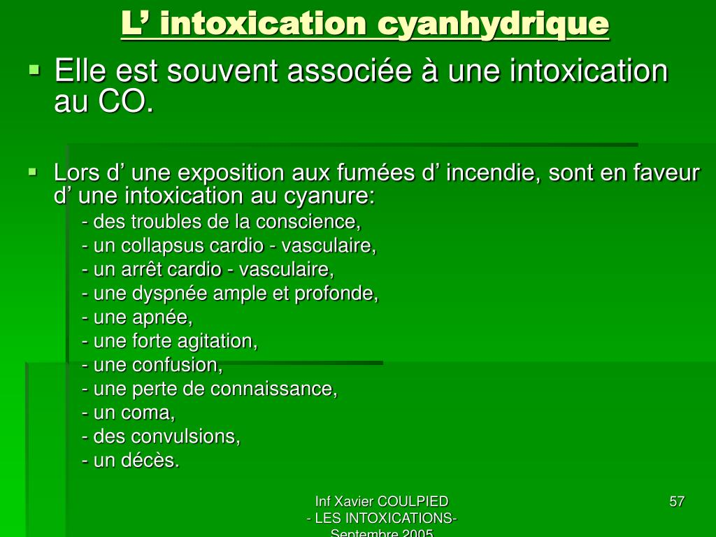 L' intoxication cyanhydrique