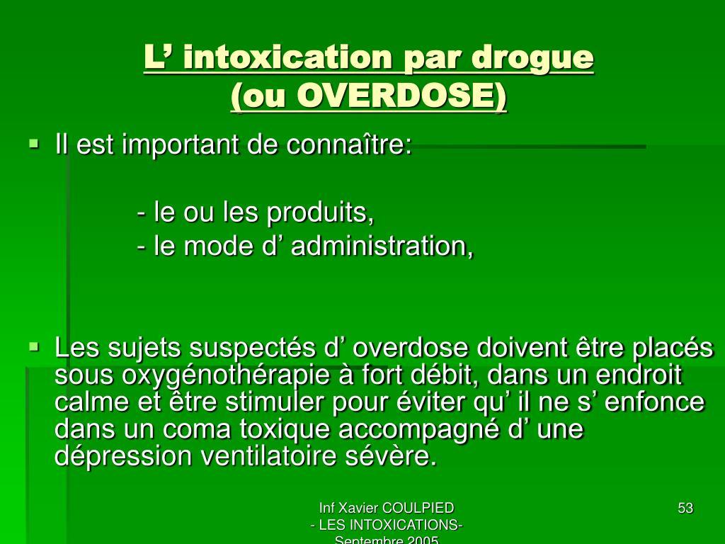L' intoxication par drogue