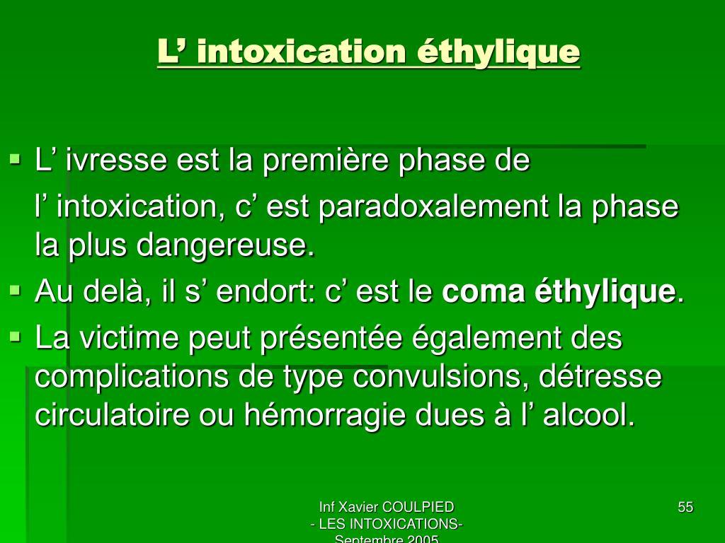 L' intoxication éthylique