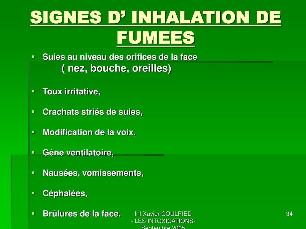 SIGNES D' INHALATION DE FUMEES