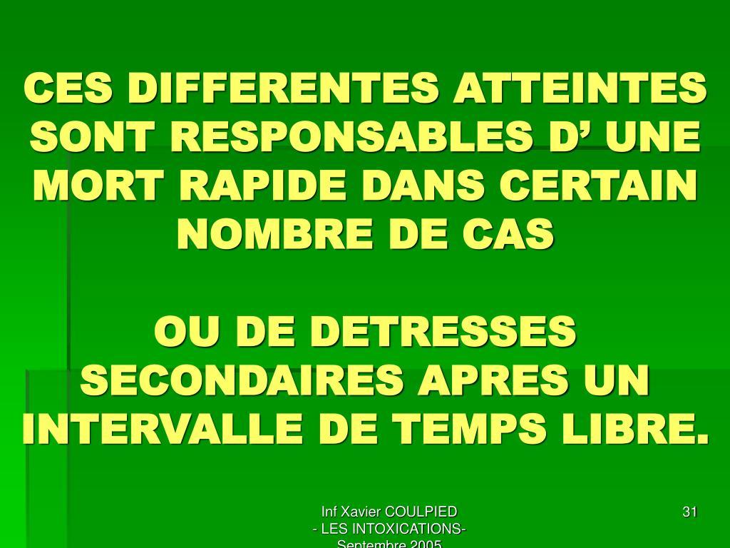 CES DIFFERENTES ATTEINTES SONT RESPONSABLES D' UNE MORT RAPIDE DANS CERTAIN NOMBRE DE CAS
