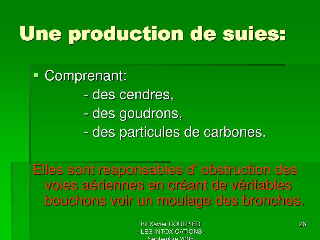 Une production de suies: