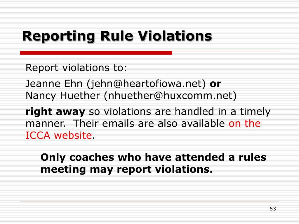 Reporting Rule Violations