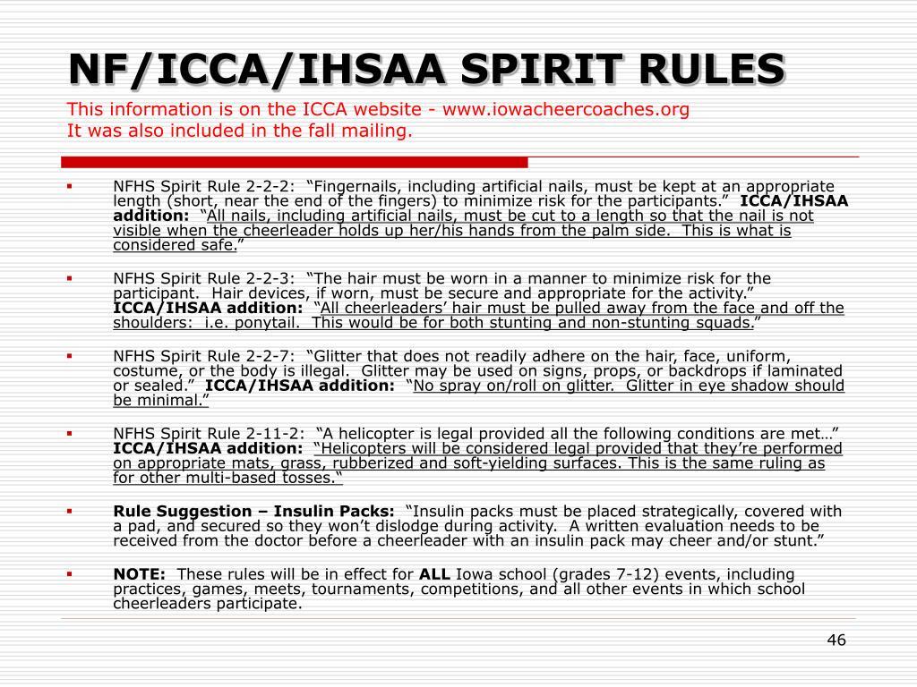 NF/ICCA/IHSAA SPIRIT RULES
