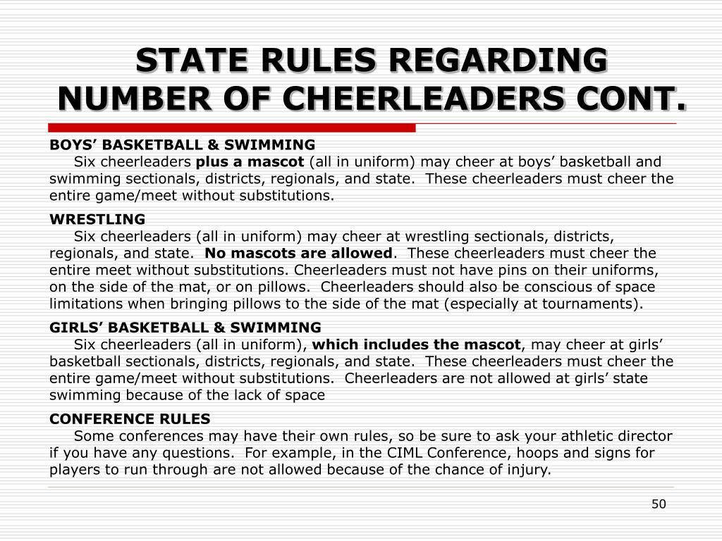 STATE RULES REGARDING NUMBER OF CHEERLEADERS CONT.