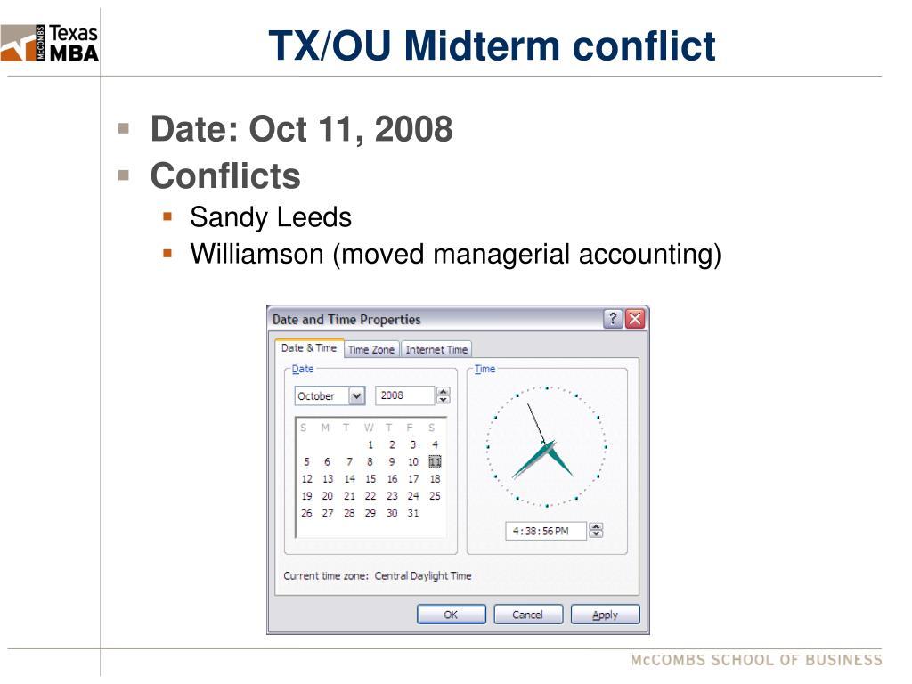 TX/OU Midterm conflict