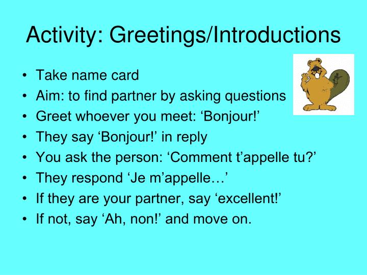 Activity greetings introductions