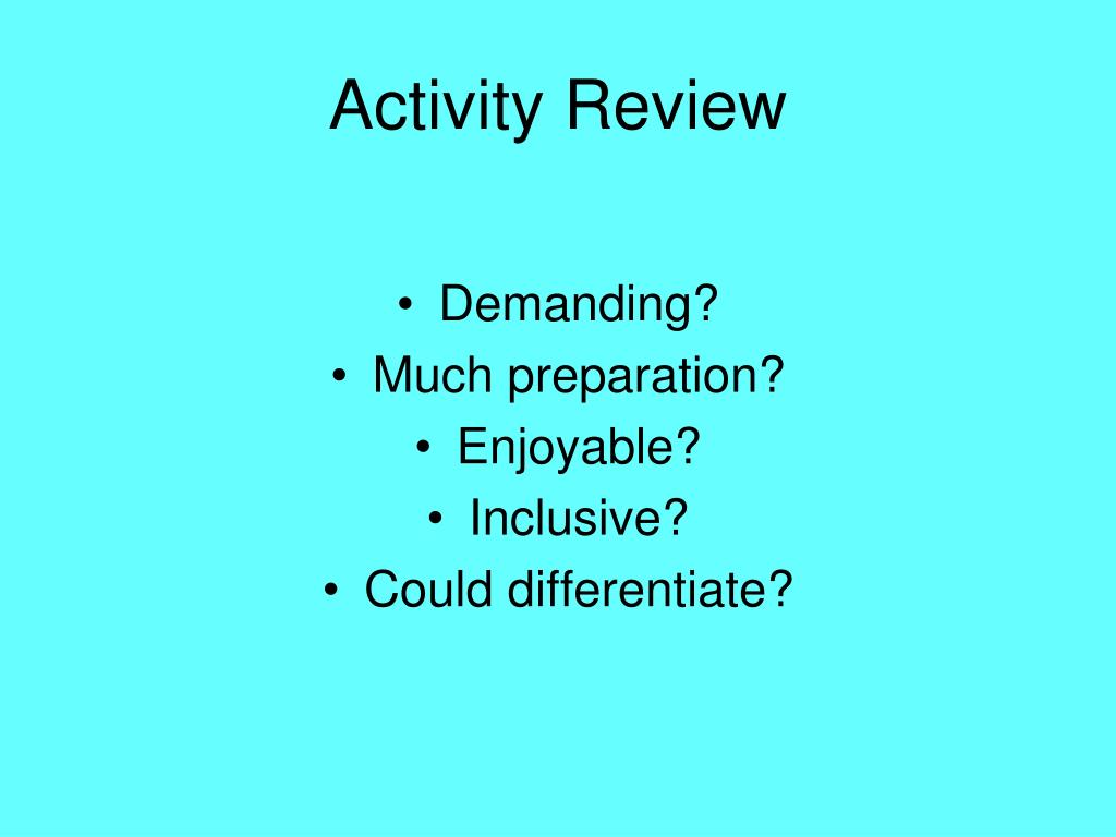 Activity Review