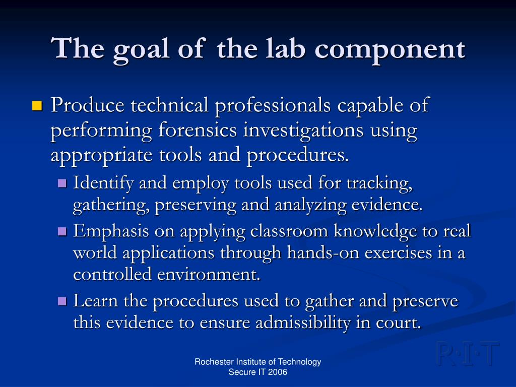 The goal of the lab component
