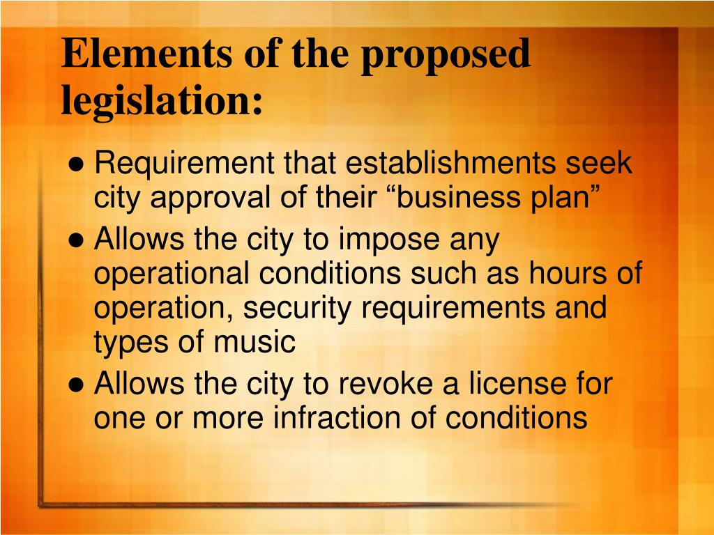 Elements of the proposed legislation: