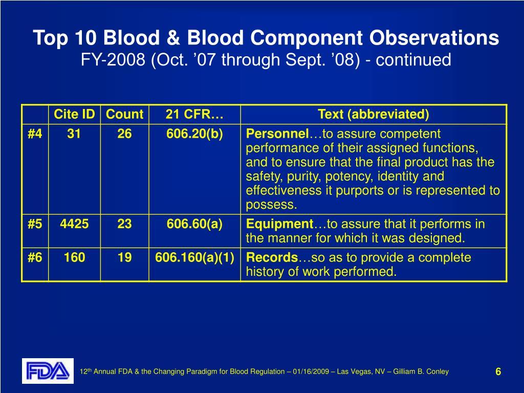 Top 10 Blood & Blood Component Observations