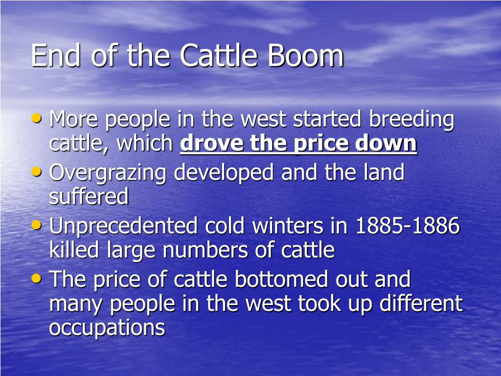 End of the Cattle Boom