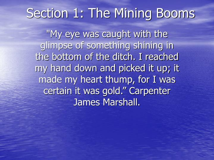 Section 1 the mining booms