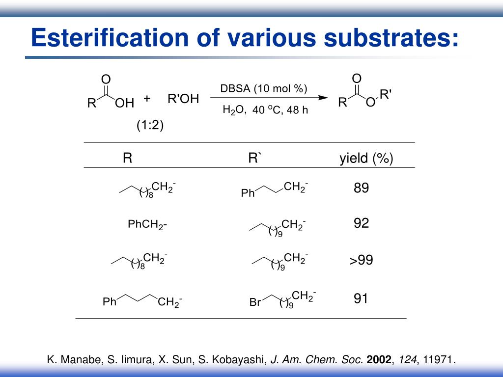Esterification of various substrates: