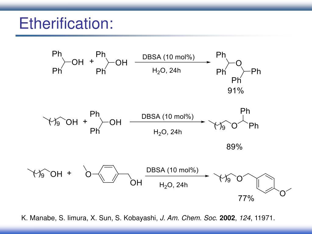 Etherification: