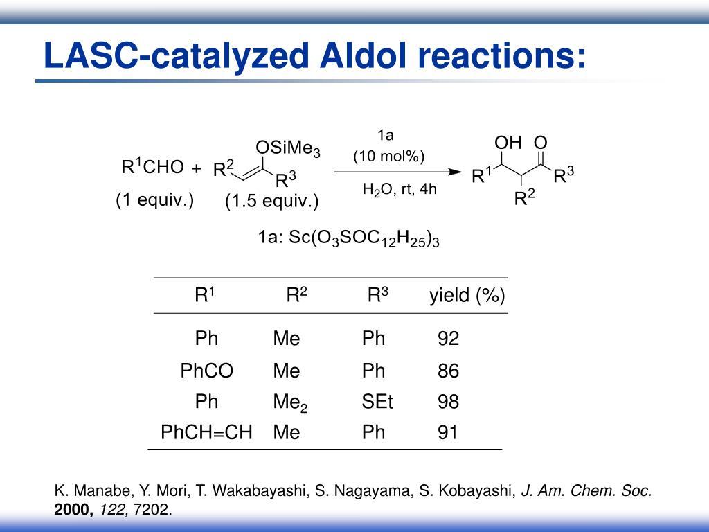 LASC-catalyzed Aldol reactions: