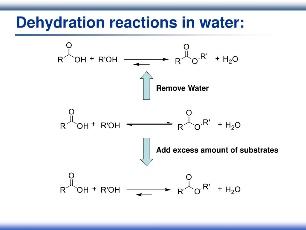 Dehydration reactions in water: