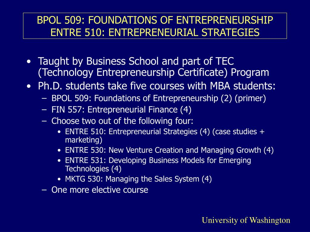 BPOL 509: FOUNDATIONS OF ENTREPRENEURSHIP