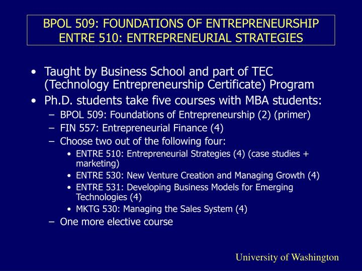 Bpol 509 foundations of entrepreneurship entre 510 entrepreneurial strategies l.jpg