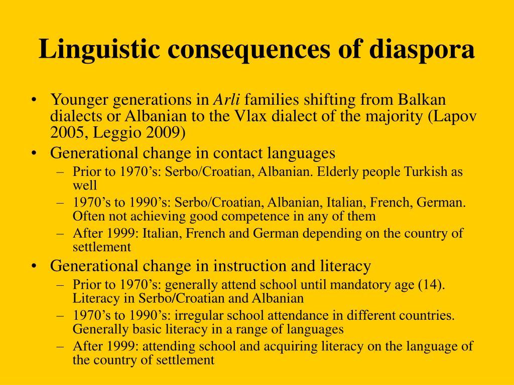Linguistic consequences of diaspora